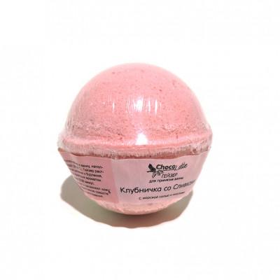 Гейзер (бурлящий шарик) для ванн КЛУБНИЧКА СО СЛИВКАМИ с морской солью и маслами,  120 ±15гр.