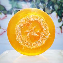 """""""Апельсин с люфой"""" мыло твердое глицериновое ручной работы 100 гр.±5"""