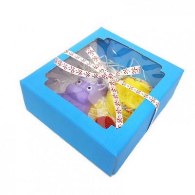 Набор подарочный детский №54 в голубой коробке (гейзер для ванн/фигурное мыло)