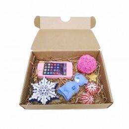 Набор новогодний детский Мишка Тедди с телефоном (мыло+свеча)