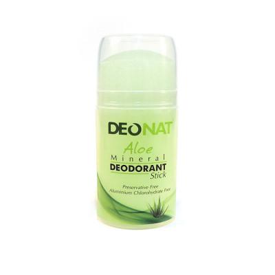 Кристалл ДеоНат 100 гр С СОКОМ АЛОЭ/1шт/стик зеленый,футляр зеленый,овал,узкий,выдвиг(pushup)